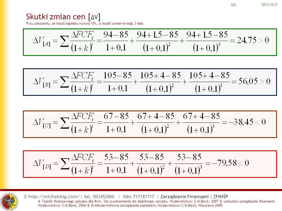 2017-03-22 Skutki zmian cen [ΔV] Przy założeniu, że koszt kapitału wynosi 10%, a skutki zmian trwają 3 lata.